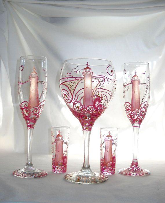Pink Biloxi Lighthouse Hand Painted Glassware by SkySpiritStudios