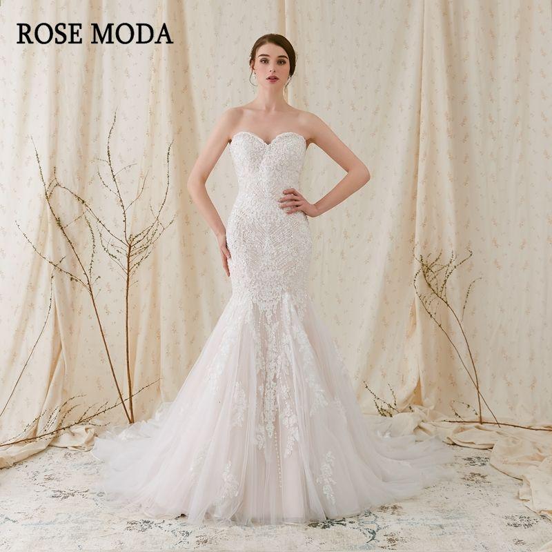 Rose Moda Sparkling Lace Mermaid Brautkleid 2018 Rosa Brautkleide ...