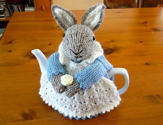 Knitted Scarf With Hood Pattern : Ravelry: ShannonBayKnits Mrs. Bunny Rabbit tea cozy Knitting and Croch...
