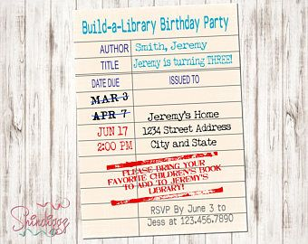 Library Card Invitations Book Theme Party Build A Library Invite Library Baby Shower Book Birth Book Birthday Parties Book Themed Party Book Invitation