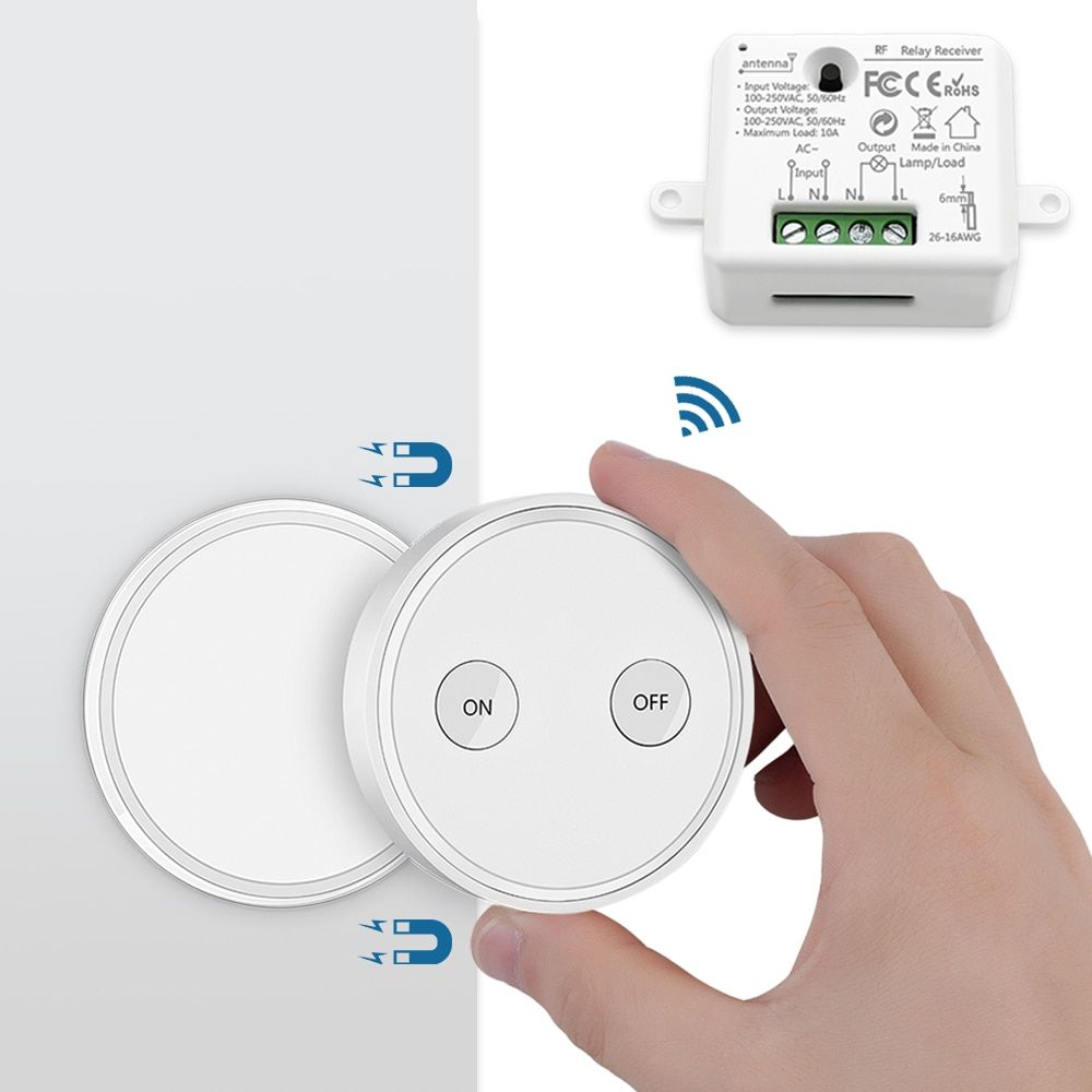 Remote Control Wireless Light Switch With Tiny Relay Module 2500w Magnetic Wall Switch Or Be Portable 200m Range E In 2020 Wireless Light Switch Wireless Lights Remote