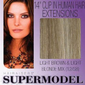 "14"" Clip In Human Hair Extensions Colour 12/SB"
