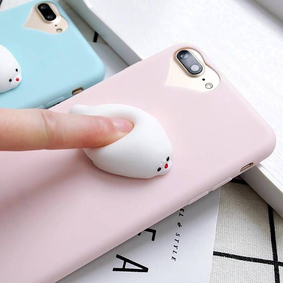 98334b8a88 Squishy Seal Kawaii Phone Case in pink or blue from etsy. made in US and  ships worldwide! #seal #kawaii #etsyfinds #affiliate