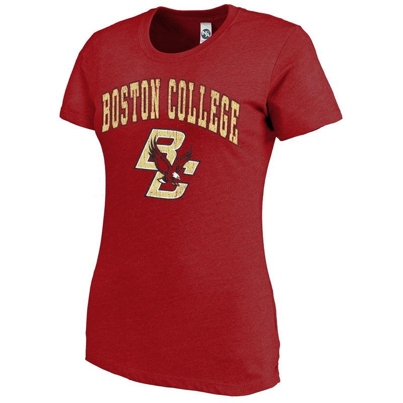 f7b88944 Women's New Agenda Heathered Maroon Boston College Eagles Big Arch & Logo  Ring Spun T-Shirt