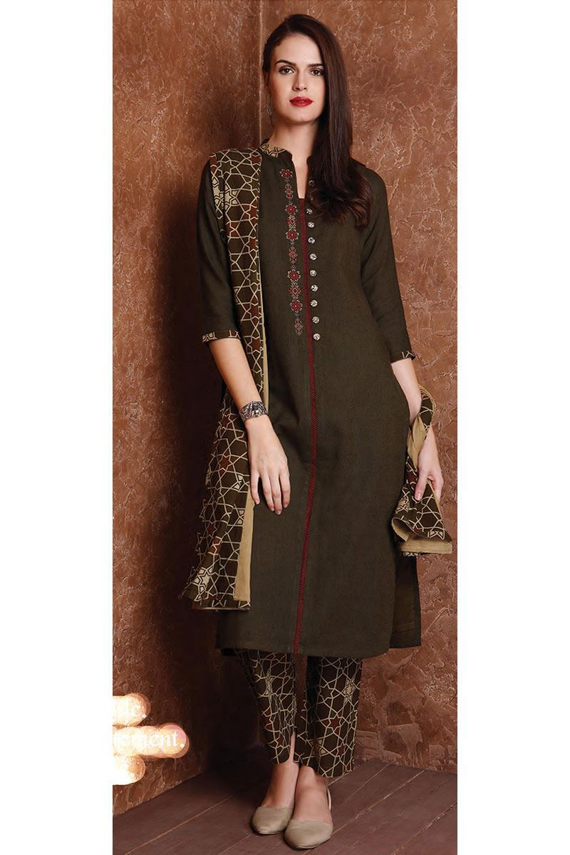 Enriching olive green designer suit kurtis pinterest long