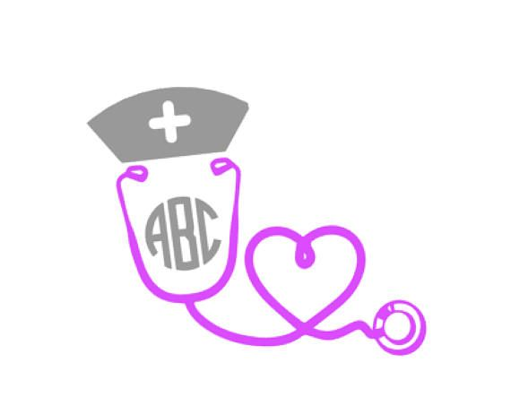 Nurse heart vinyl monogram decal for yeti cars computers