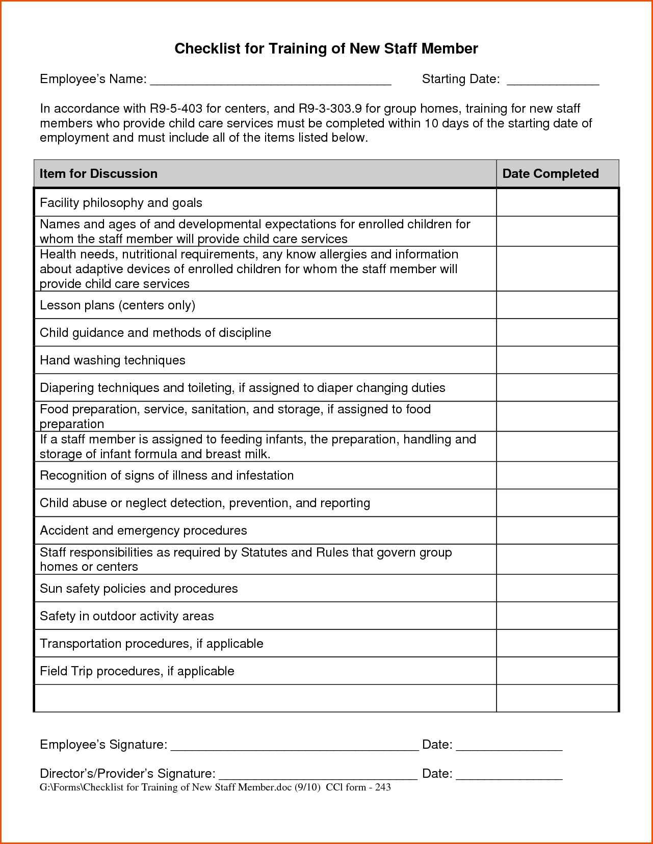 new employee training checklist template Employee