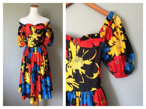 Vintage 1950s Style Dress Bright Floral Flowers Balloon Sleeves Full Skirt and Bow Off the Shoulder Primary Colors Size  0 2 4 XS X-Small on Etsy, $68.00
