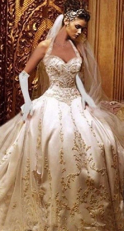 vestidos de novia: oro sobre blanco impresionante belleza