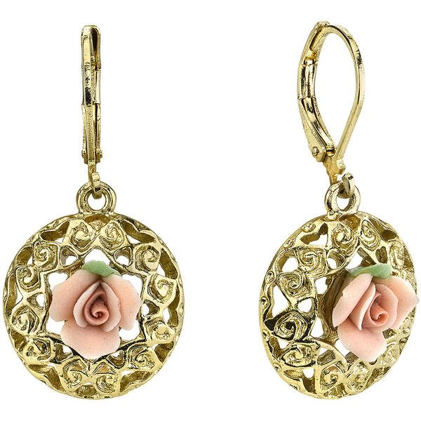1928 Jewelry Pink Rose Gold-Tone Drop Earrings ($18) ❤ liked on Polyvore featuring jewelry, earrings, rose jewellery, pink earrings, rose drop earrings, earring jewelry and rose gold tone jewelry