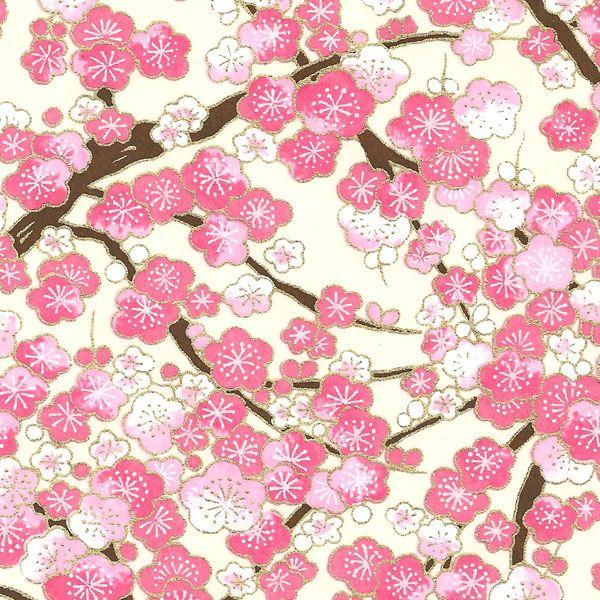 Papier Japonais Washi Serigraphie De Fleurs Roses Sur Fond Blanc