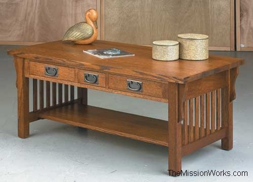 anna lee collection three drawer coffee table :: coffee tables
