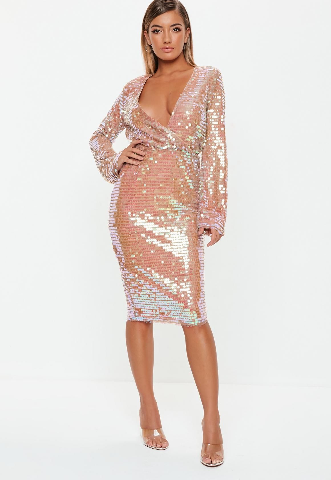 Missguided Blush Sequin Fluted Sleeve Wrap Over Midi Dress ... d34f6bf487f7