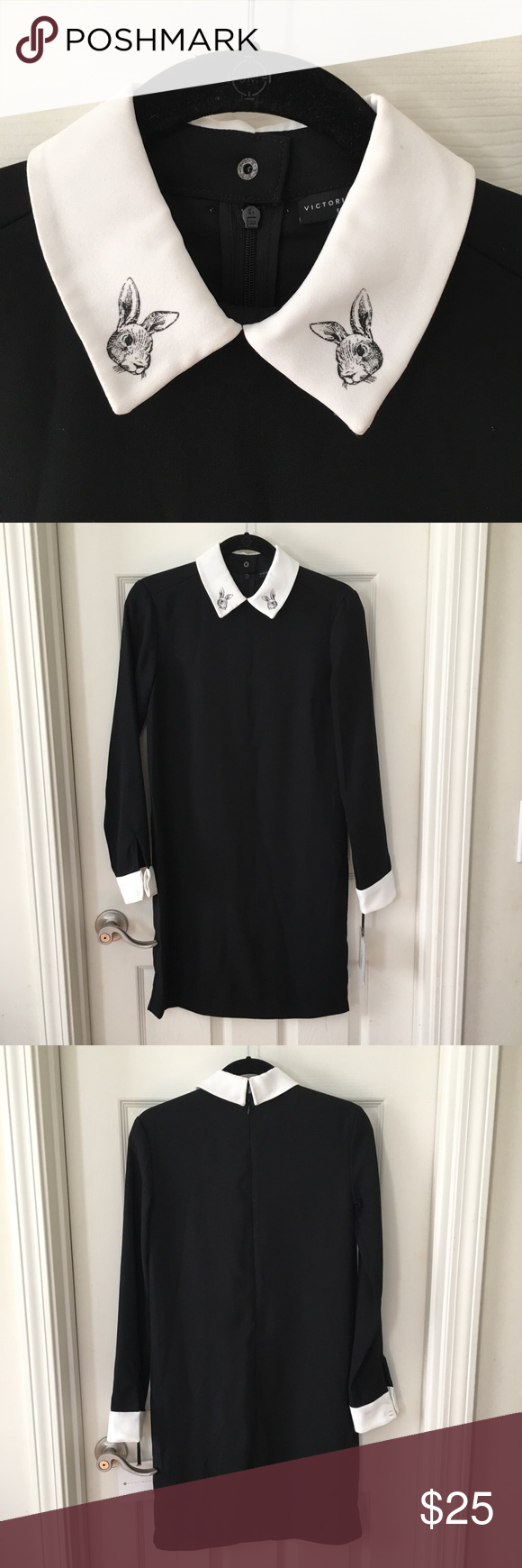 Black Dress With Bunny Collar Black Long Sleeve Dress Black Dress Long Sleeve Dress [ 1740 x 580 Pixel ]