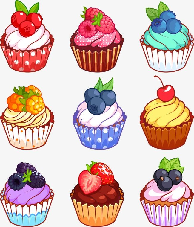 Frutas Cupcakes Vector Copo De Papel Do Bolo De Frutas Cupcakes