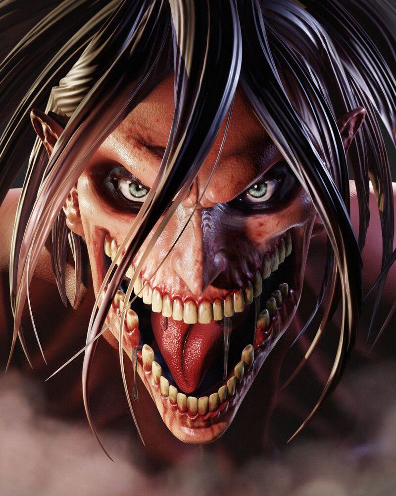Artstation Eren Titan Fanart Attack On Titan Shingeki No Kyojin Albaro 3d In 2020 Attack On Titan Halloween Face Makeup Fan Art