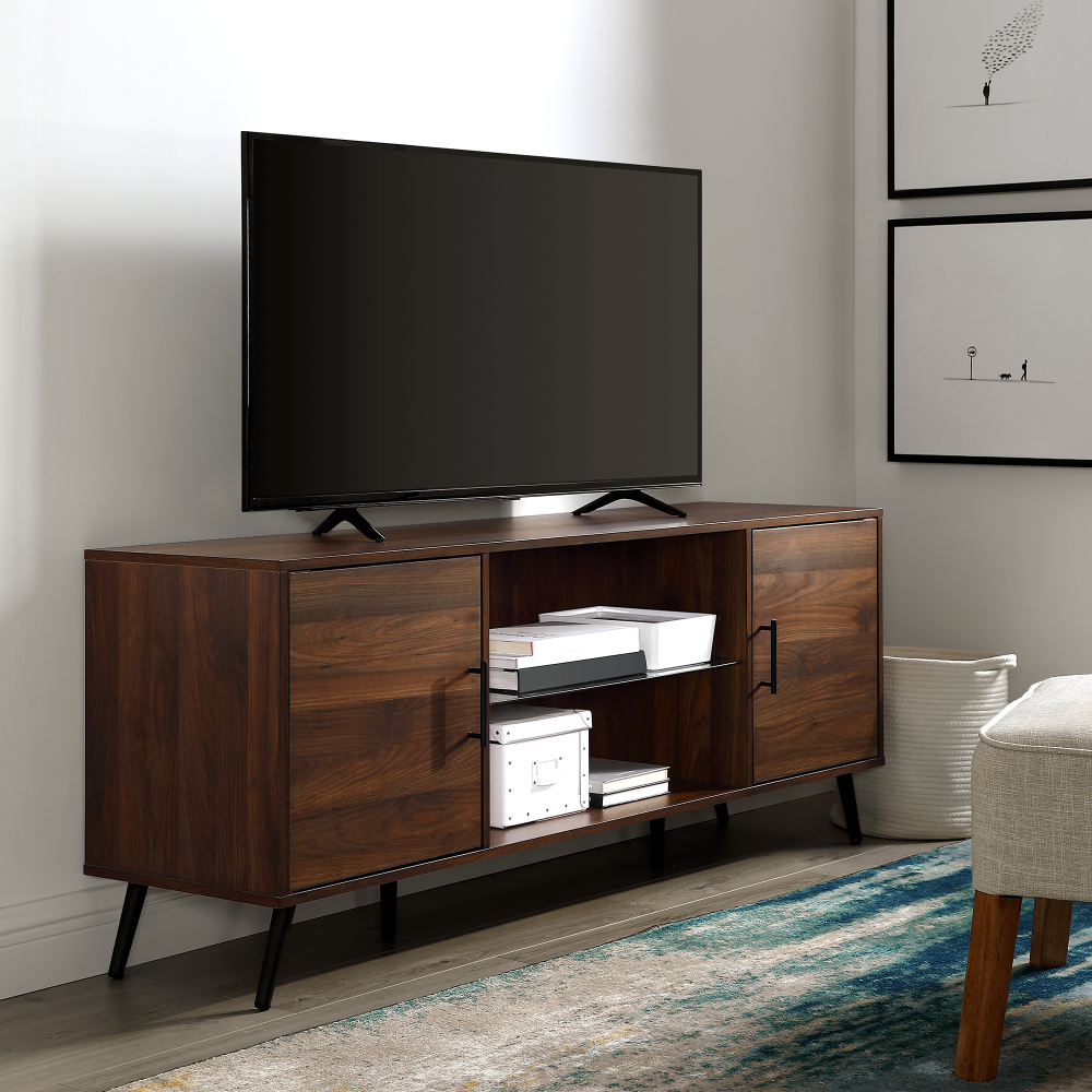 Free 2 Day Shipping Buy Thea Mid Century 60 Two Door Dark Walnut Tv Stand By Manor Park At Walmar In 2020 Mid Century Modern Tv Stand Modern Tv Stand Walnut Tv Stand