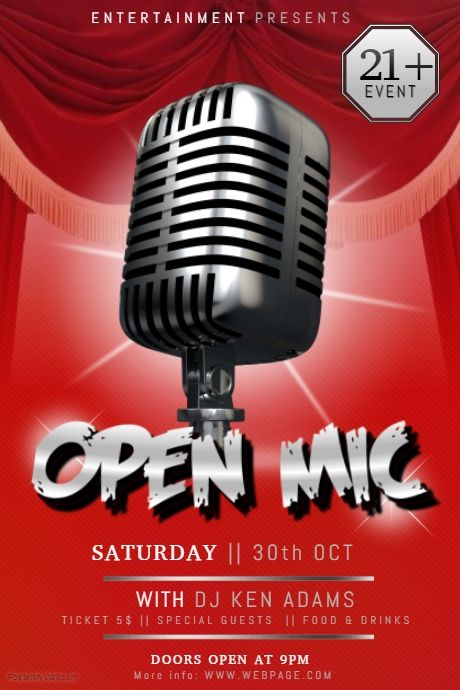 Open Mic Stand Up Comedy Karaoke Talent Show Poster  Postermywall