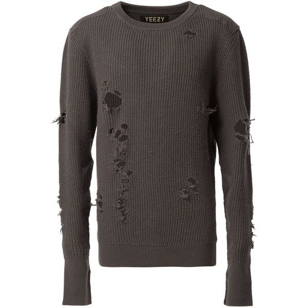 Yeezy Distressed Knit Sweater ($2,310) ❤ liked on Polyvore featuring tops, sweaters, grey, grey knit sweater, gray knit sweater, ripped sweater, unisex sweaters and gray sweater