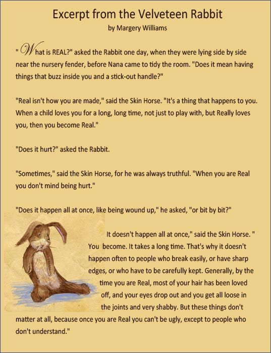 The Velveteen Rabbit... on being \
