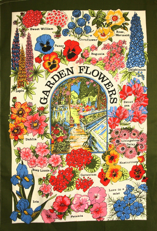 Kitchen Towels Washed Linen Cotton Daisies Poppies Cornflowers Flowers Tea Towel