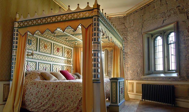 Painted Gothic Revival bed, Thornbury Castle, UK.