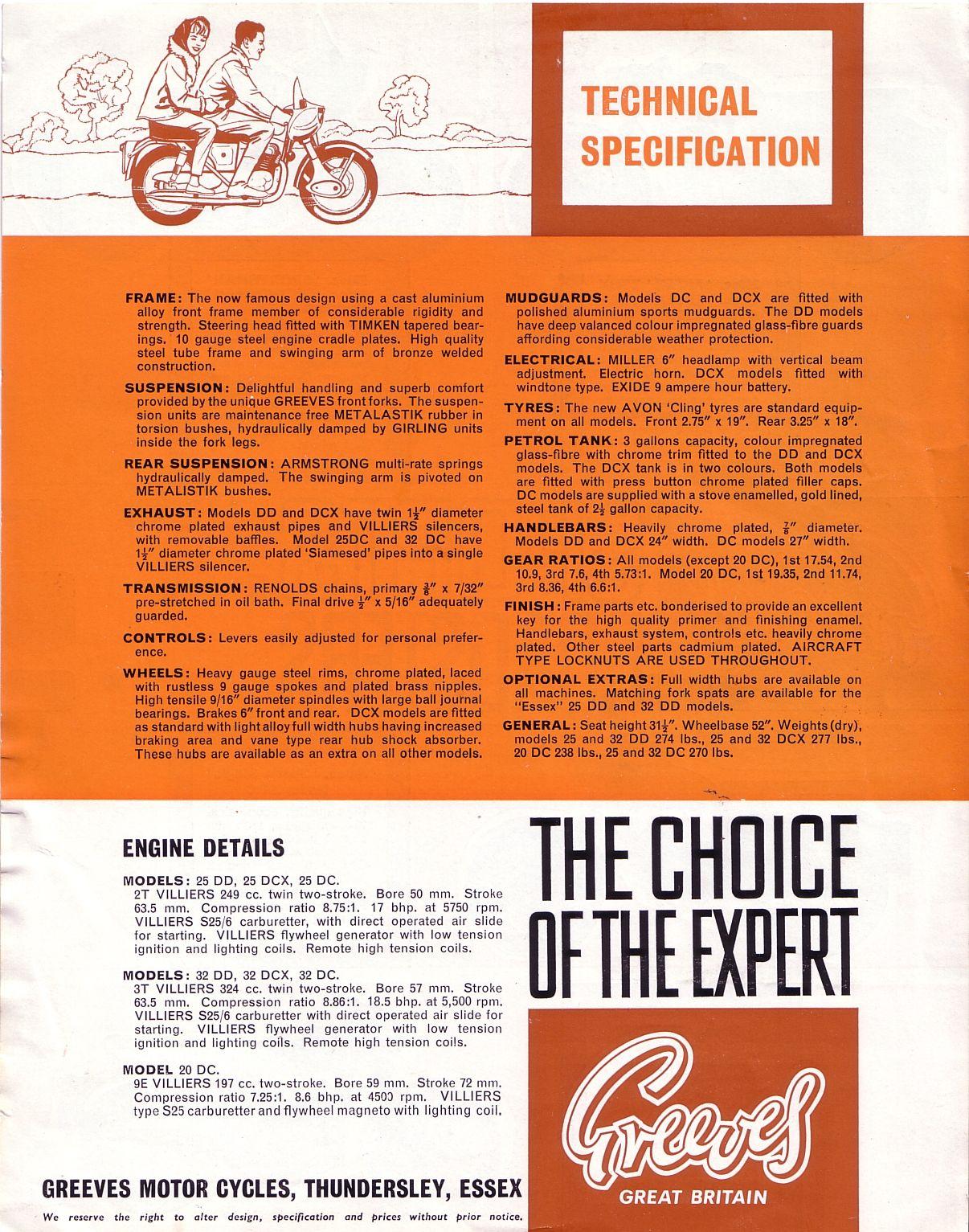 Sports Brochure | Red Devil Motors 1963 Greeves Sports Roadsters Brochure Motorrad