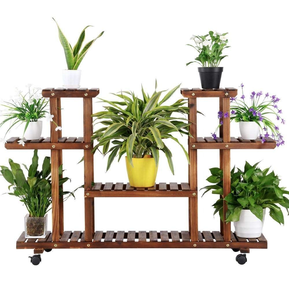 100 Solid Wood Shelving Unit This Flower Stand Is Made Of 100 Fir Wood Which Is Known For Its Strengt Corner Plant Indoor Plant Shelves Wooden Plant Stands