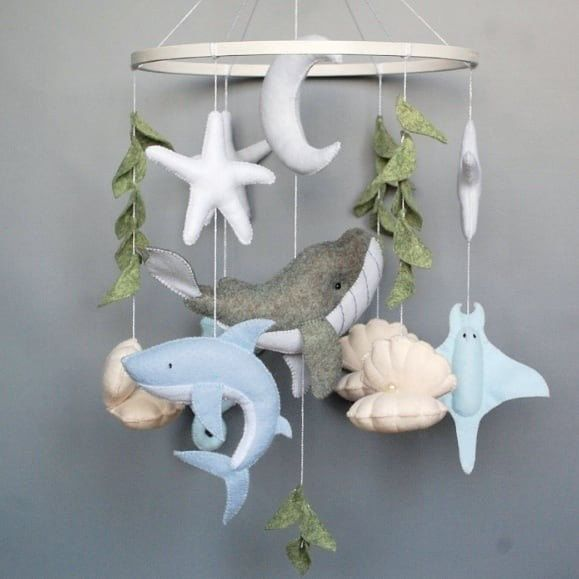 Ocean baby mobile whale Shark  nautical nursery crib mobile | Etsy