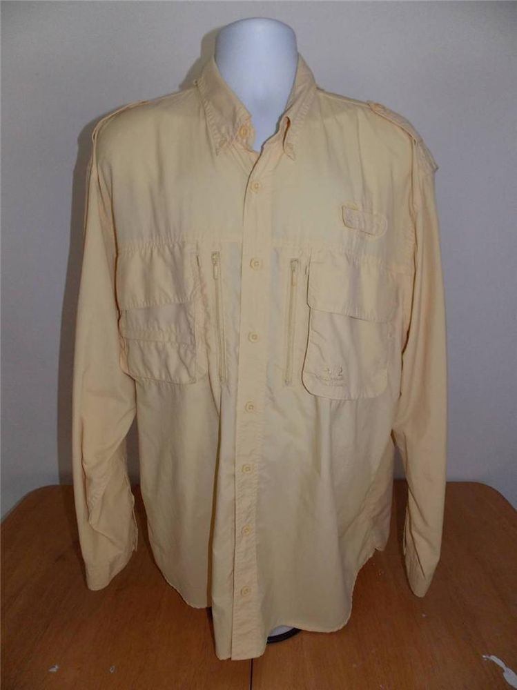 Mens XL Tall Cabelas Yellow Fishing Shirt Double Pockets w/Vent EUC!! Guide Ware #Cabelas #ButtonFront