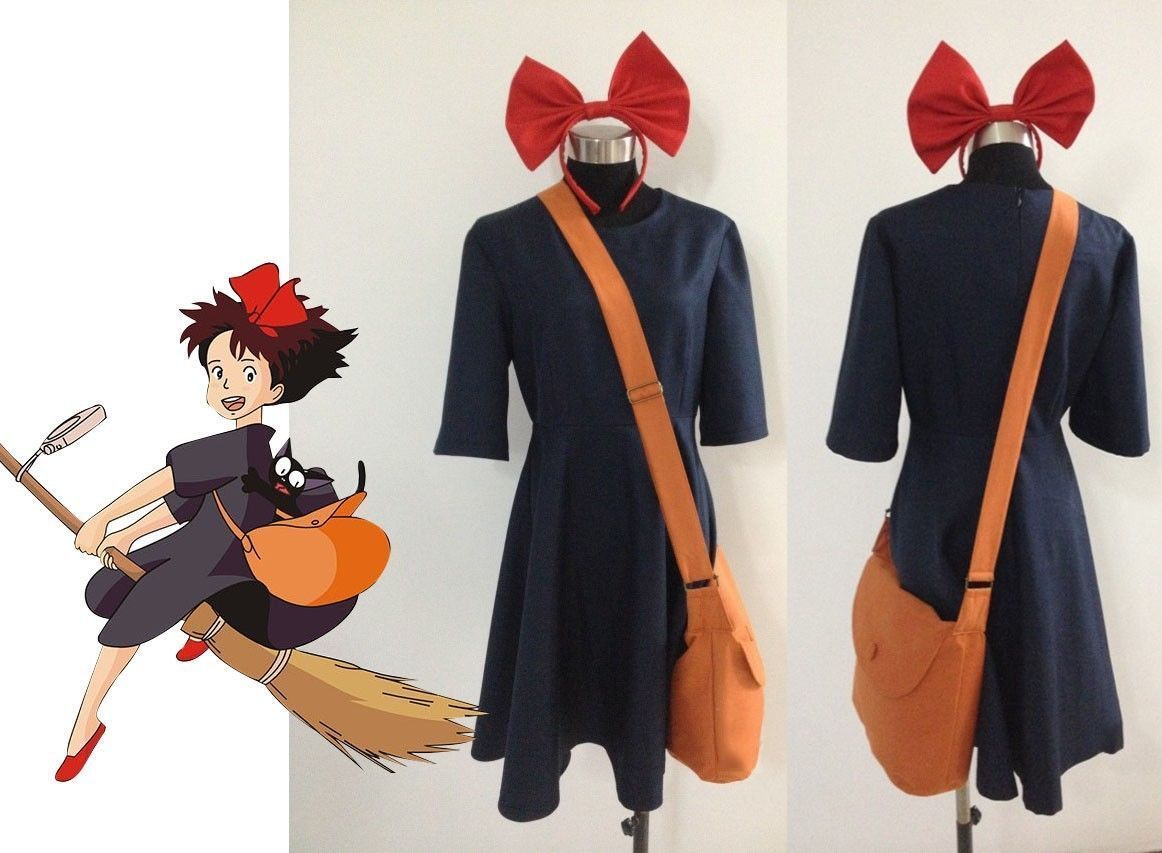 Details about Kiki Delivery Service Cosplay Costume+Bag+Hairband ...