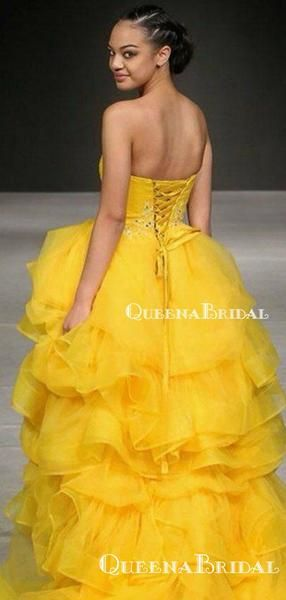Sweetheart Ball Gown Charming Sleeveless Yellow Tulle #tulleballgown
