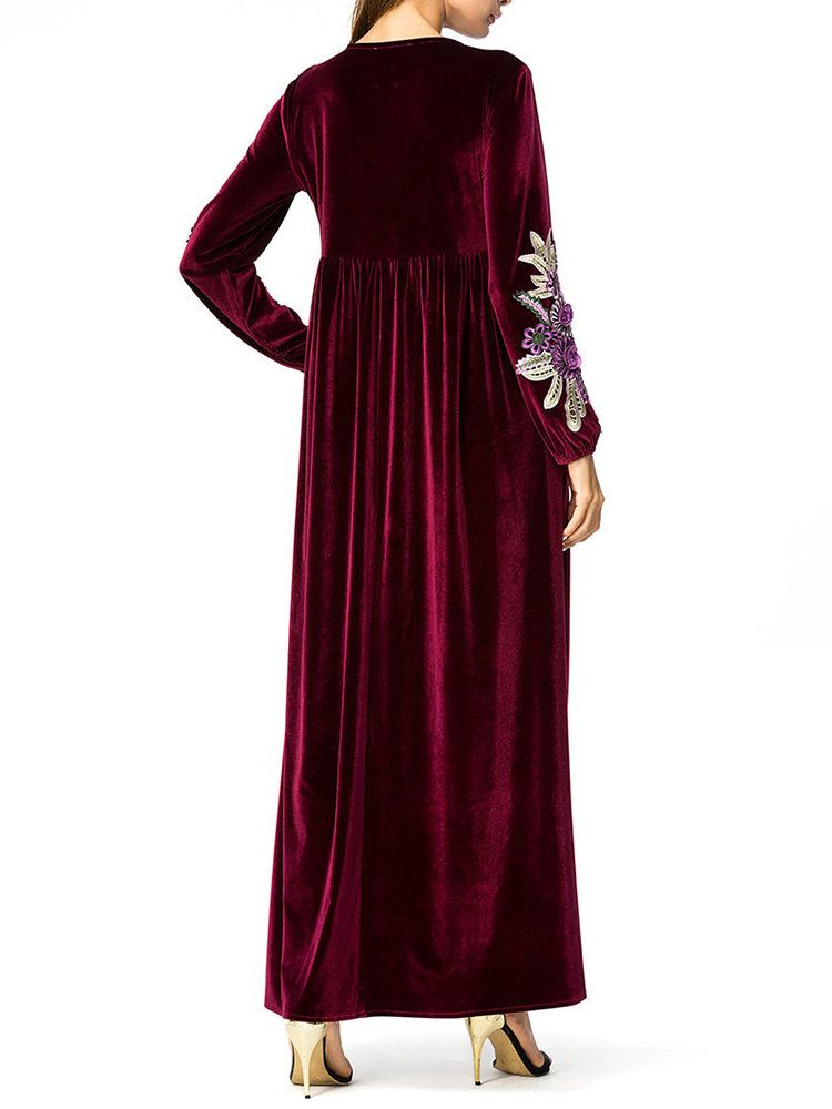 7011c4801b Muslim Velvet Embroidery Long Sleeve Maxi Dress in 2019 | Products ...