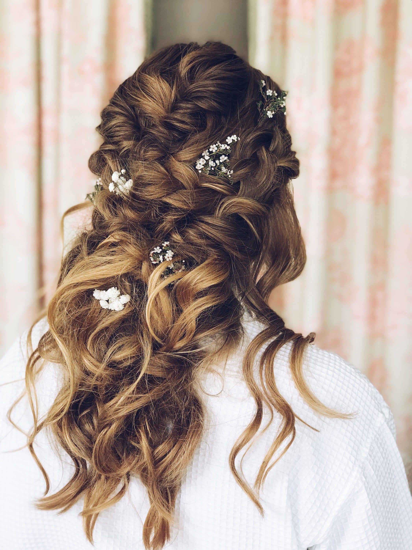 half up bridal hair, whimsical wedding hair, wedding hair
