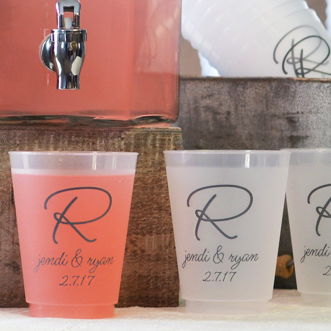 Frosted Plastic Wedding Cups Personalized My Reception Ideas