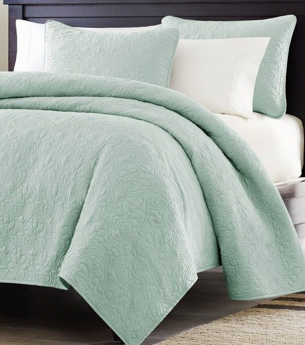 Details About 3pc Sage Green Oversized Quilted Coverlet