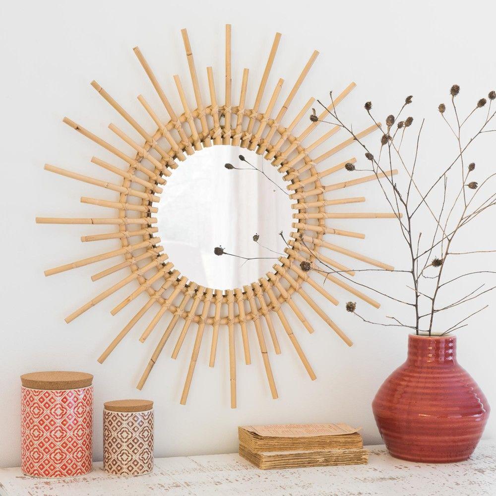 miroir rond en rotin d65 maisons du monde collection hacienda deco maison du monde et miroir. Black Bedroom Furniture Sets. Home Design Ideas