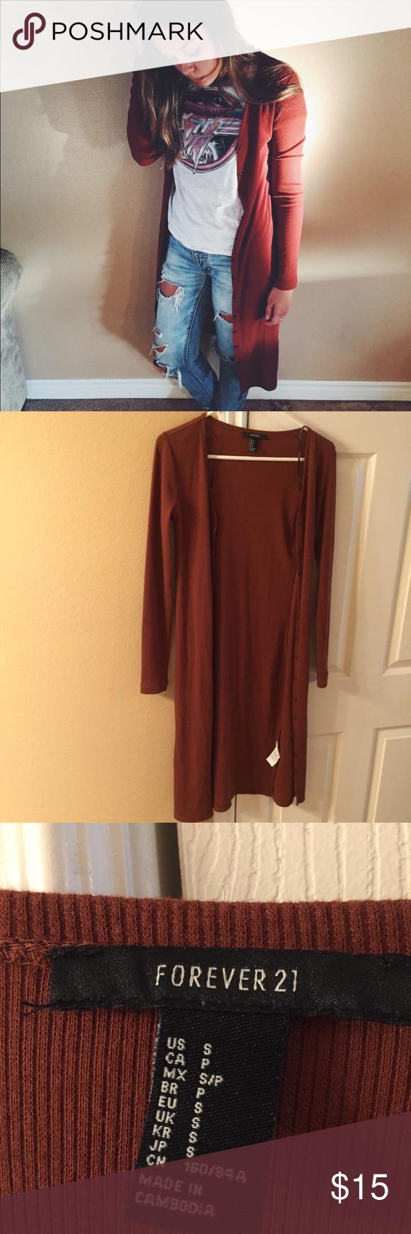 Long cardigan F21 | Long cardigan, Burnt orange and Forever 21