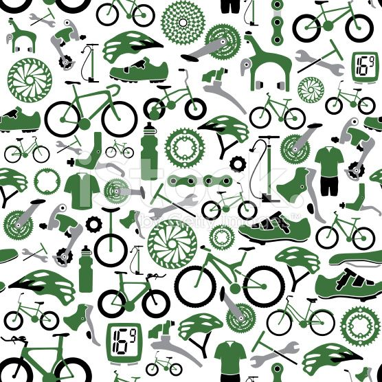 Vector Illustration Of Tillable Seamless Bikes And Bike Parts