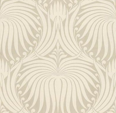 Lotus (BP 2009) - Farrow & Ball Wallpapers - An elegant artisanal lotus-flower in a repetitive design. Shown here in cream on beige water based paints - more colours are available. Please request a sample for true colour match.