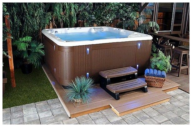 backyard patio designs with jacuzzi pictures - Hot Tub Patio Designs