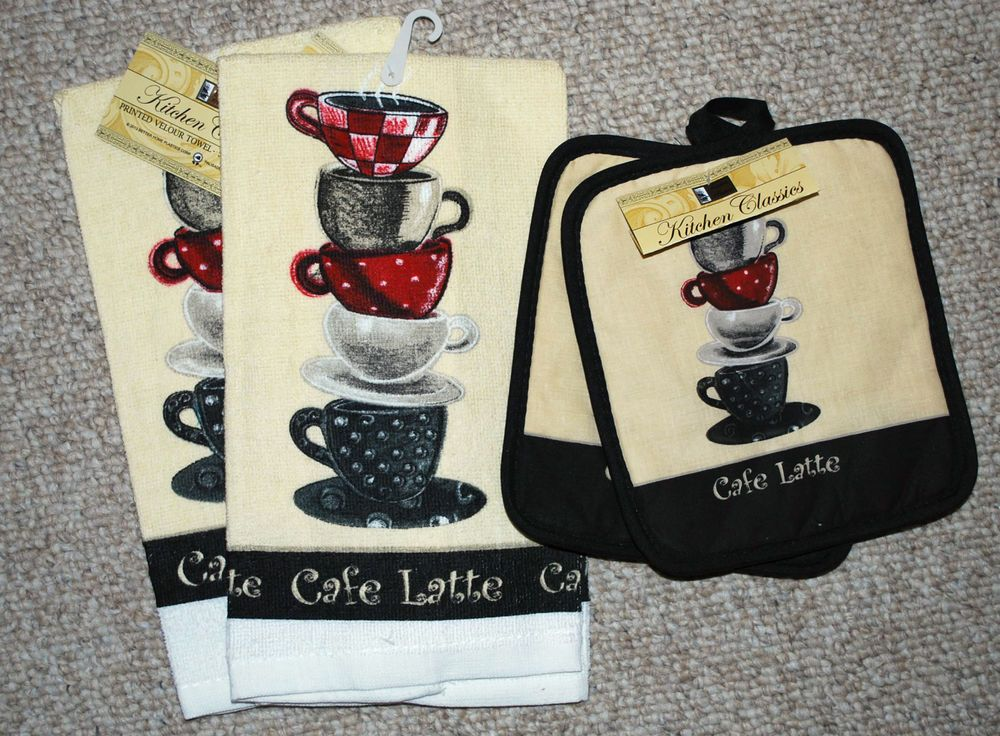 4pc Coffee Theme Kitchen Towels Set Potholders Mitt Cafe