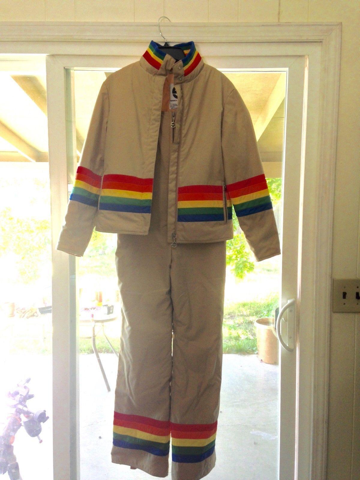 Vintage womens saska skiwear rainbow overalls and ski jacket set