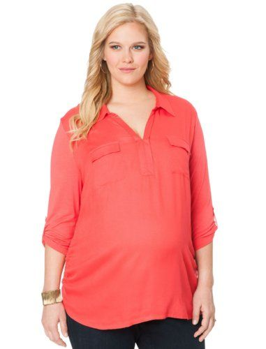 c8d0e7bf6635d Motherhood Maternity: Plus Size Convertible Sleeve Shirt Collar Pocket Tee  Maternity Blouse for only $29.99 You save: $4.99 (14%)
