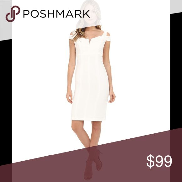 Selling this Adrianna Papell White Cold Shoulder Dress Sz 6 on Poshmark! My username is: kt2210. #shopmycloset #poshmark #fashion #shopping #style #forsale #Adrianna Papell #Dresses & Skirts