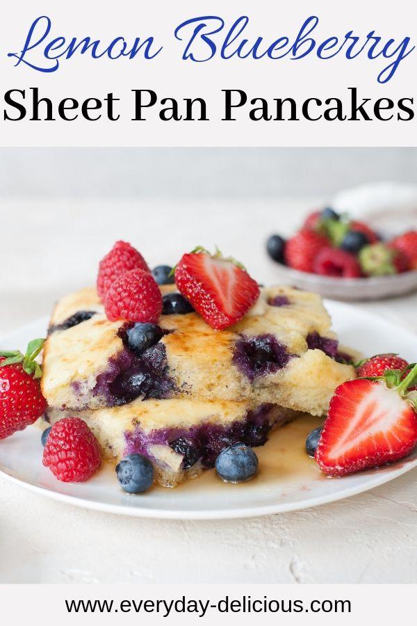 Lemon Blueberry Sheet Pan Pancakes. Light and fluffy oven-baked pancakes. - Lemon Blueberry Sheet