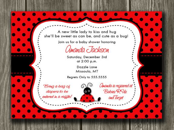Printable Ladybug Baby Shower Invitation Free Thank You Card Included Party Package Decorations Available Www Dazzleexpressions