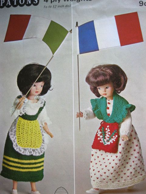 patons knitting pattern 9897 2 dolls national costume outfits for 12 ...