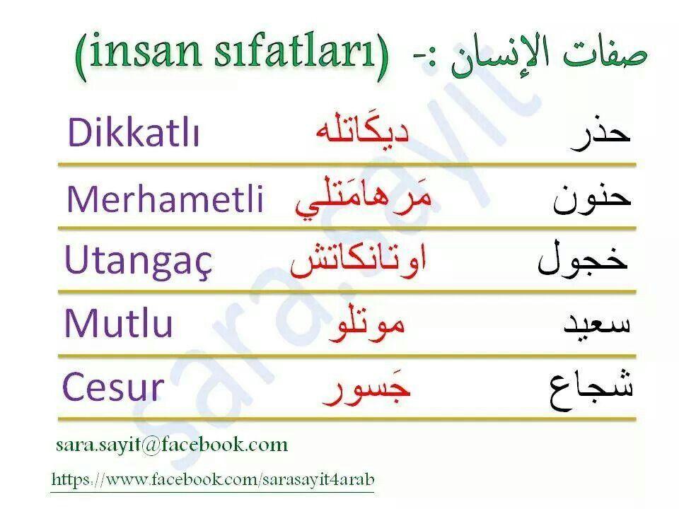 صفات باللغة التركية Turkish Language Learn Turkish Language Turkish Lessons