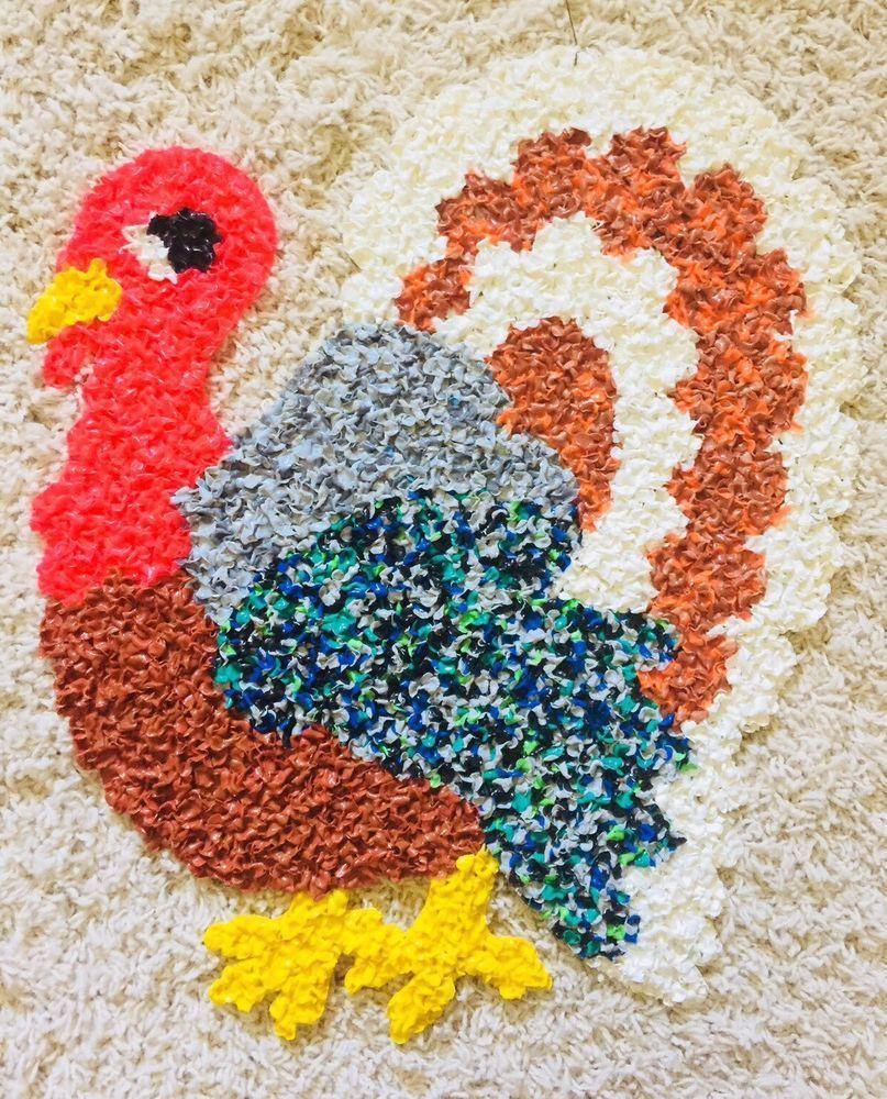 Vintage Rare Thanksgiving Day Melted Plastic Popcorn Turkey Decoration